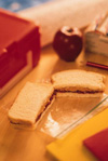 Lunchbox with sandwich and apple