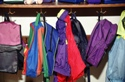Backpacks hanging in closet