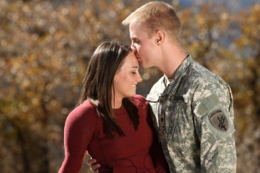 Supporting Our Troops, Army couple posing in donated portrait