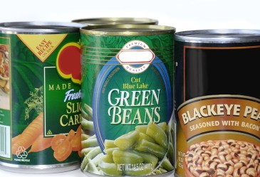 Close Up of Canned Vegetables