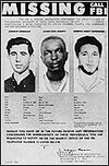 FBI photographs of Andrew Goodman, James Earl Chaney, and Michael Schwerner