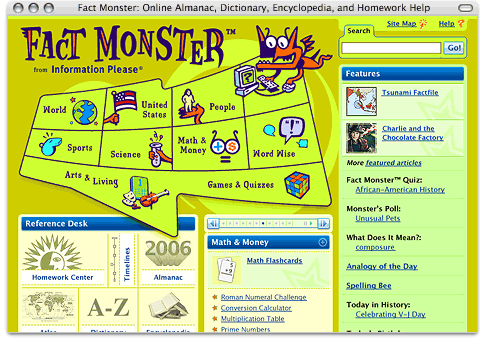 Screenshot of www.factmonster.com (Fact Monster Homepage)