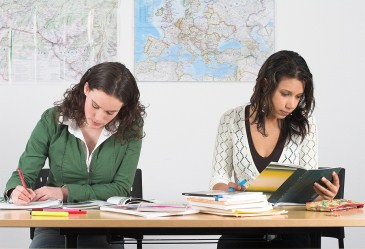 Two female students studying at desk