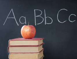 apple and chalkboard for back to school