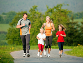 healthy family running together