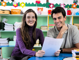 Smiling parents in classroom