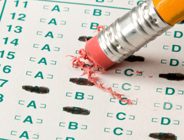 Scantron sheet and pencil