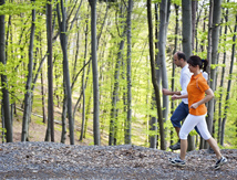 Couple jogging on trail