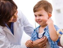 Smiling child with doctor