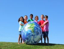 children celebrating Earth Day