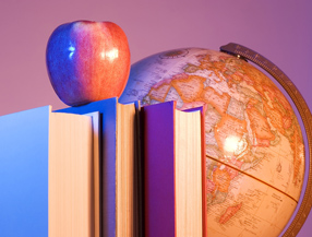 Apple, books, and globe