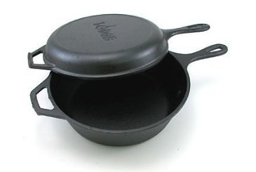Made in the USA, Lodge cast iron pot and pan set