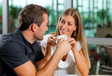 Man and woman on coffee date