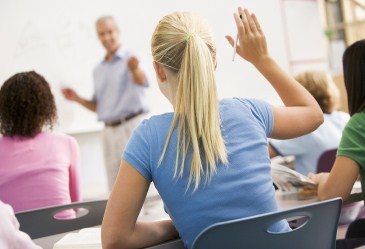 Back shot of female student raising hand in classroom