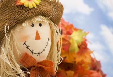Close up of scarecrow face against sky blue background.
