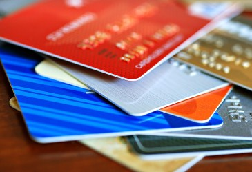 Stack of credit cards and gift cards