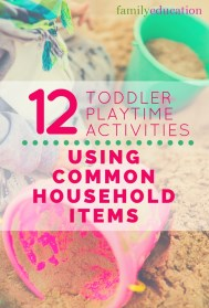 Toddler Playtime Activities Using Common Household Items Pinterest Graphic