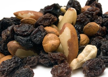 Mixed nuts against white background