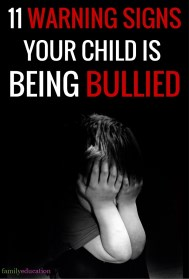 Warning Signs Your Child Is Being Bullied Pinterest Graphic
