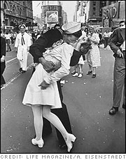 V-J Day Kiss by Alfred Eisenstaedt (August 14, 1945)