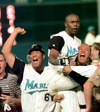 Florida Marlins celebrate a victory
