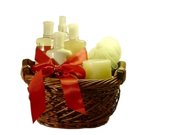 Christmas gifts for anyone, gift basket of bath products