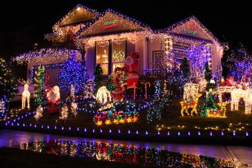 traditional christmas activity, house with christmas lights