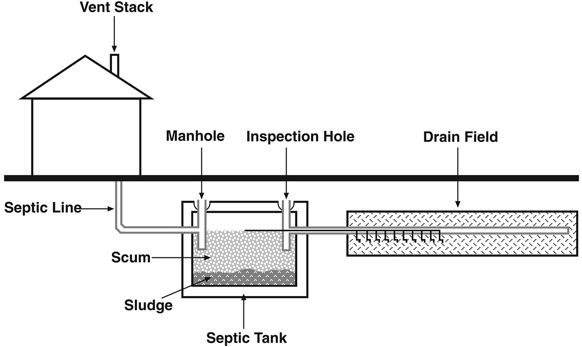 A typical septic-system lay-out, showing tank, pipes, and leach or absorption field. Some septic systems use mounds instead of fields.