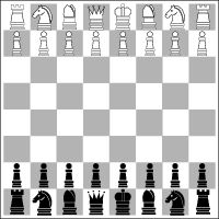 The starting positions on a chessboard.