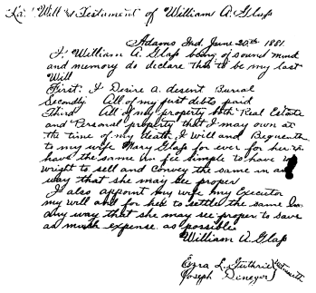 Will of William A. Glass. Note the blotch and how it is treated in the transcription in the next figure.