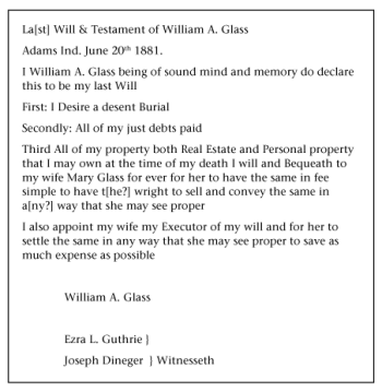 The brief will of William A. Glass, filed in Decatur County, Indiana.
