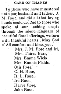 The family's thank-you after the father's death.