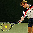 Tennis player on a tennis court
