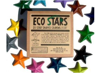 green christmas gift, recycled crayons star shaped