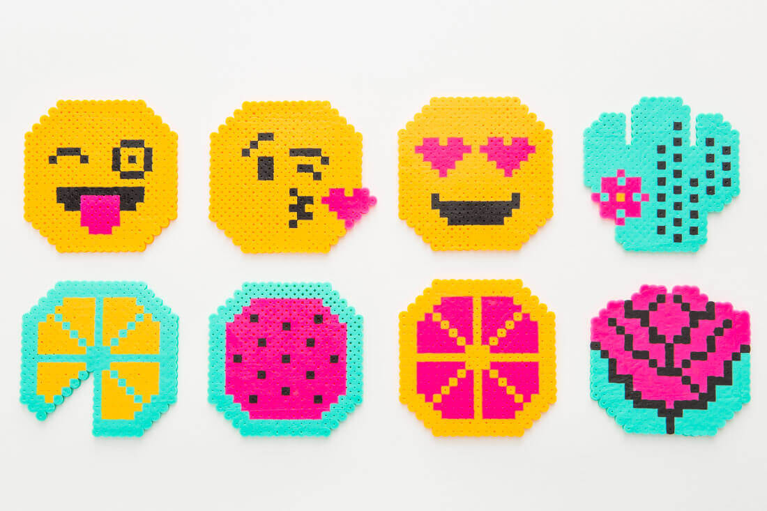 emoji perler bead coaster craft