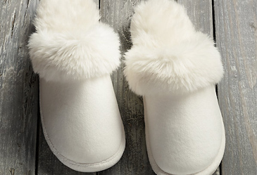 teacher christmas gift, restoration hardware faux fur slippers