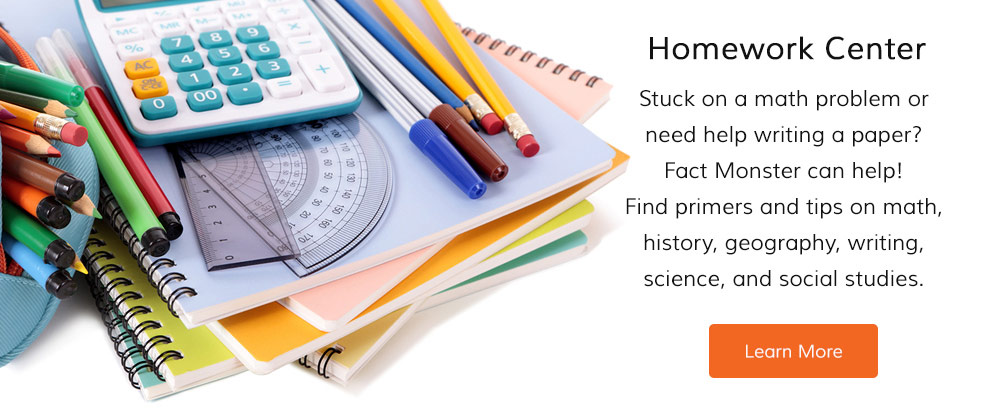 Stuck on a math problem or need help writing a paper? Fact Monster can help! Find primers and tips on math, history, geography, writing, science, and social studies.