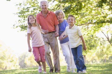grandparents, grandchildren nature walk activity