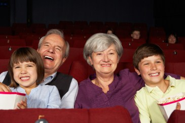 grandparents, grandchildren at the movies