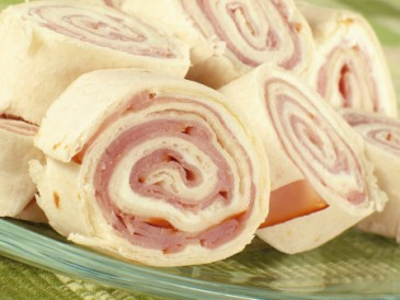 Nut-free lunch ideas, ham and cheese pinwheel sandwich wrap