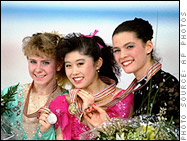 Tonya Harding, Kristi Yamaguchi, and Nancy Kerrigan