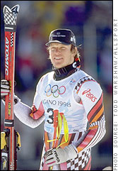 Herman Maier after winning the Super G at Nagano, 1998