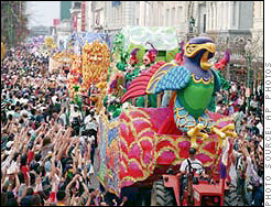... of people every year crowd New Orleans to view the Mardi Gras parades