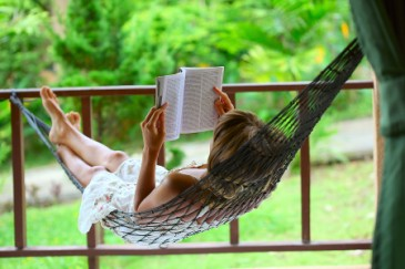 Thoughtful Mothers Day gift, woman reading in a hammock