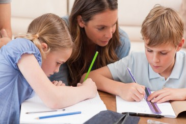 Homework help, mother helping siblings