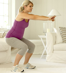 pregnant woman stretching, third trimester