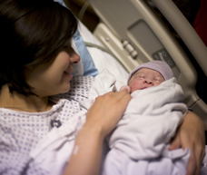 Woman with newborn