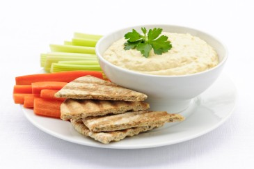 Nut-free lunch ideas, spread of hummus and pita and vegetables