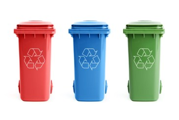 Green school lunch ideas, three recycling bins