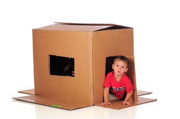 toddler activities, cardboard playhouse